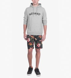 Stussy Heather Grey Gothic EMB. Hoodie Model Picutre