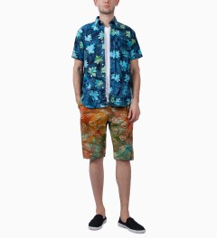 Mark McNairy Blue SS BD BLUE BATIK SHIRT Model Picutre