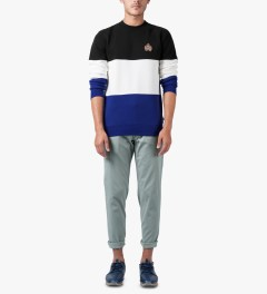 HUF Black/White/Blue Crested Block Crewneck Sweater Model Picutre