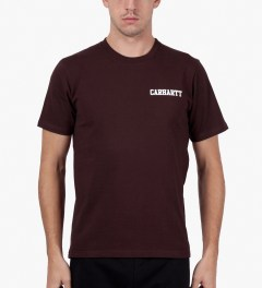 Carhartt WORK IN PROGRESS Bordeaux/White S/S College Script T-Shirt Model Picutre