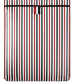 Thom Browne Blue/White Striped Print Calfskin Leather iPad Case Picutre