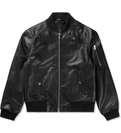 MKI BLACK Black High Grain Raglan Bomber Jacket Picutre