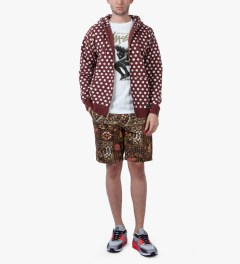 Stussy Dark Red Scratch Dot Zip Hoodie Model Picutre