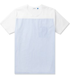 Aloye White/Light Blue Fabrics #5 Color Blocked S/S T-Shirt Picutre