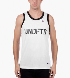 Undefeated White 00 Mesh Tank Top Model Picutre