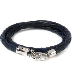 Miansai Navy Blue Brummel Leather Silver Bracelet Picutre
