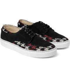 E.R SOULIERS DE SKATE Pied De Poule Red/Black Suede Shoes Model Picutre