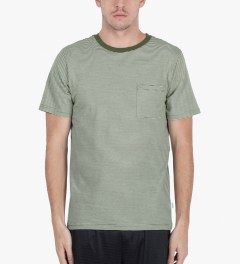 SATURDAYS Surf NYC Olive Drab Randall Beach Stripe T-Shirt Model Picutre