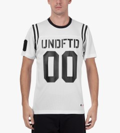 Undefeated White 00 Mesh Football T-Shirt Model Picutre