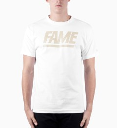 Hall of Fame White Fame Block Jumbotron T-shirt Model Picutre