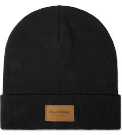 Grand Scheme Black Leather Label Beanie Picutre