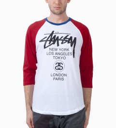 Stussy Red Baseball WT Raglan T-Shirt Model Picutre