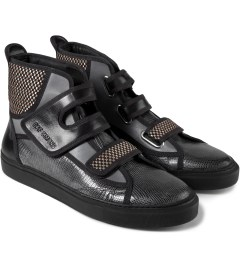 Raf Simons Black High Velcro Sneakers Model Picutre