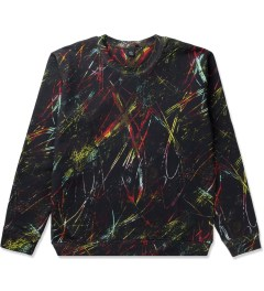 McQ by Alexander McQueen Black Scratched Print Clean Crewneck Sweater Picutre