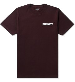 Carhartt WORK IN PROGRESS Bordeaux/White S/S College Script T-Shirt Picutre