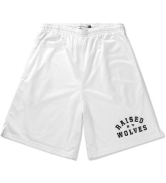 Raised by Wolves White College Basketball Shorts Picutre