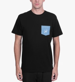 HUF Black Script Denim Pocket T-Shirt Model Picutre