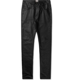 Naked & Famous Black Wax Coated Stacked Guy Jeans Picutre