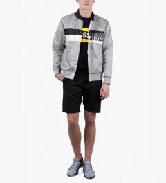 Stussy Grey Satin Stripe Jacket Model Picutre