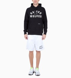 Raised by Wolves Black College Pullover Hoodie Model Picutre