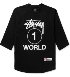 Stussy Black One World Baseball T-Shirt Picutre