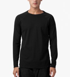 Reigning Champ Black Solid Jersey L/S Raglan T-Shirt Model Picutre