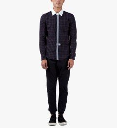 Band of Outsiders Navy L/S Blocked Shirt Model Picutre