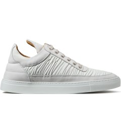 Filling Pieces Off White Wrinkled Leather Low Top Sneakers Picutre