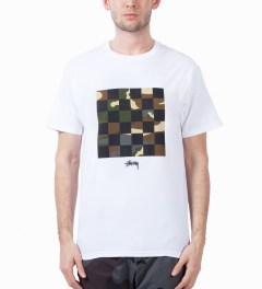 Stussy White/Army Camo Check T-Shirt Model Picutre