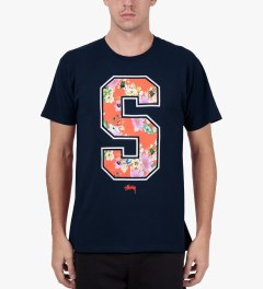 Stussy Navy S Flower T-Shirt Model Picutre