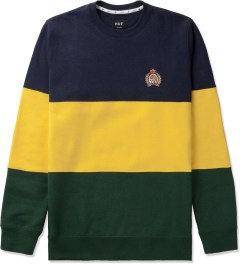 HUF Navy/Yellow/Green Crested Block Crewneck Sweater Picutre