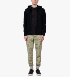 Reigning Champ Black RC-3271 Knit Lightweight Terry Zip Front Hoodie Model Picutre