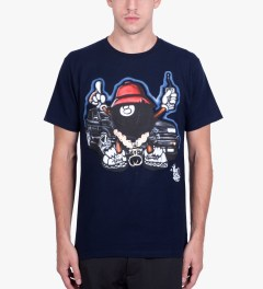Stussy Navy Phade 8 Ball Man T-Shirt Model Picutre