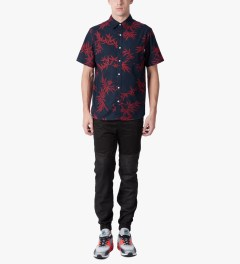HUF Navy/Red Bamboo S/S Woven Shirt Model Picutre