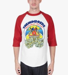 The Hundreds Red/White Motorboat Baseball ¾ Sleeve T-Shirt Model Picutre