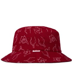 Primitive Red HLFU Bucket Hat Model Picutre