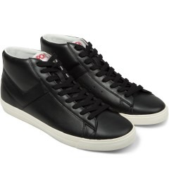 PONY Black/Black Perf Topstar Hi Leather Sneakers Model Picutre