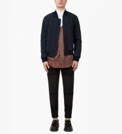 3.1 Phillip Lim Navy/Grey Front Welt Pockets Harrington Zip Up Jacket Model Picutre