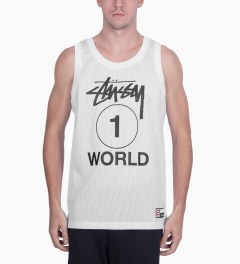 Stussy White One World Mesh Tank Top Model Picutre