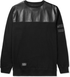 Grand Scheme Black Leather Trim Fleece Sweater Picutre