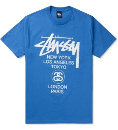Stussy Brite Blue World Tour T-Shirt Picutre
