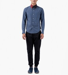 Band of Outsiders Indigo L/S Button Down Split Collar Shirt Model Picutre