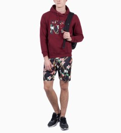 Stussy Dark Red Flags No.4 Hoodie Model Picutre