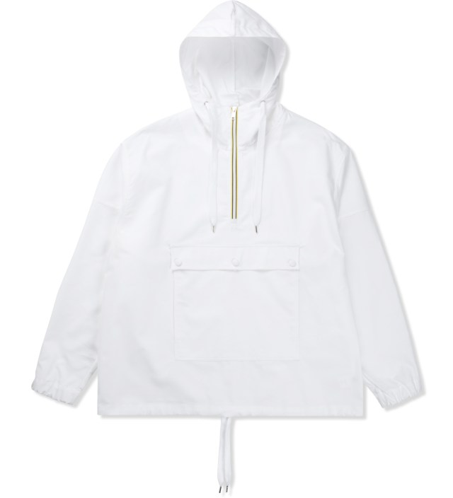 White Hooded Windbreaker Shirt