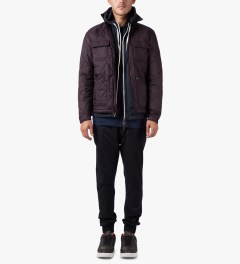 HUF Burgundy HUF Quilted Work Jacket Model Picutre
