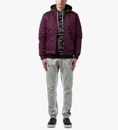 Primitive Burgundy Dots Bomber Jacket Model Picutre
