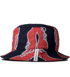 Raised by Wolves Red/Navy Sailor's Knot Gatineau Bucket Hat Model Picutre
