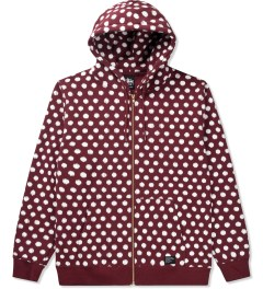 Stussy Dark Red Scratch Dot Zip Hoodie Picutre