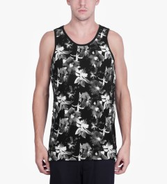 HUF Black/White Floral Tank Top Model Picutre