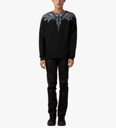 Marcelo Burlon Black Alas Agua Crewneck Sweater Model Picutre